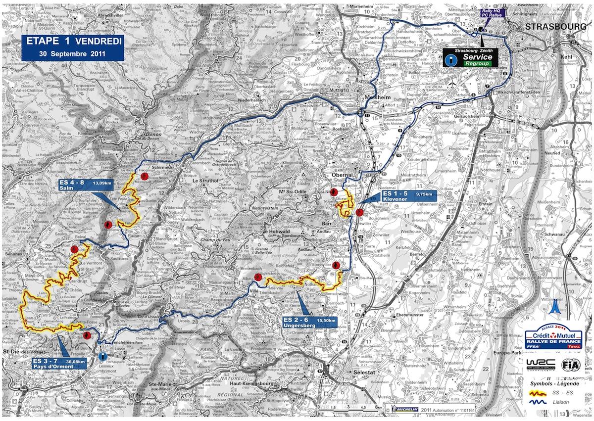 Carte de l'étape 1 du rallye de France 2011