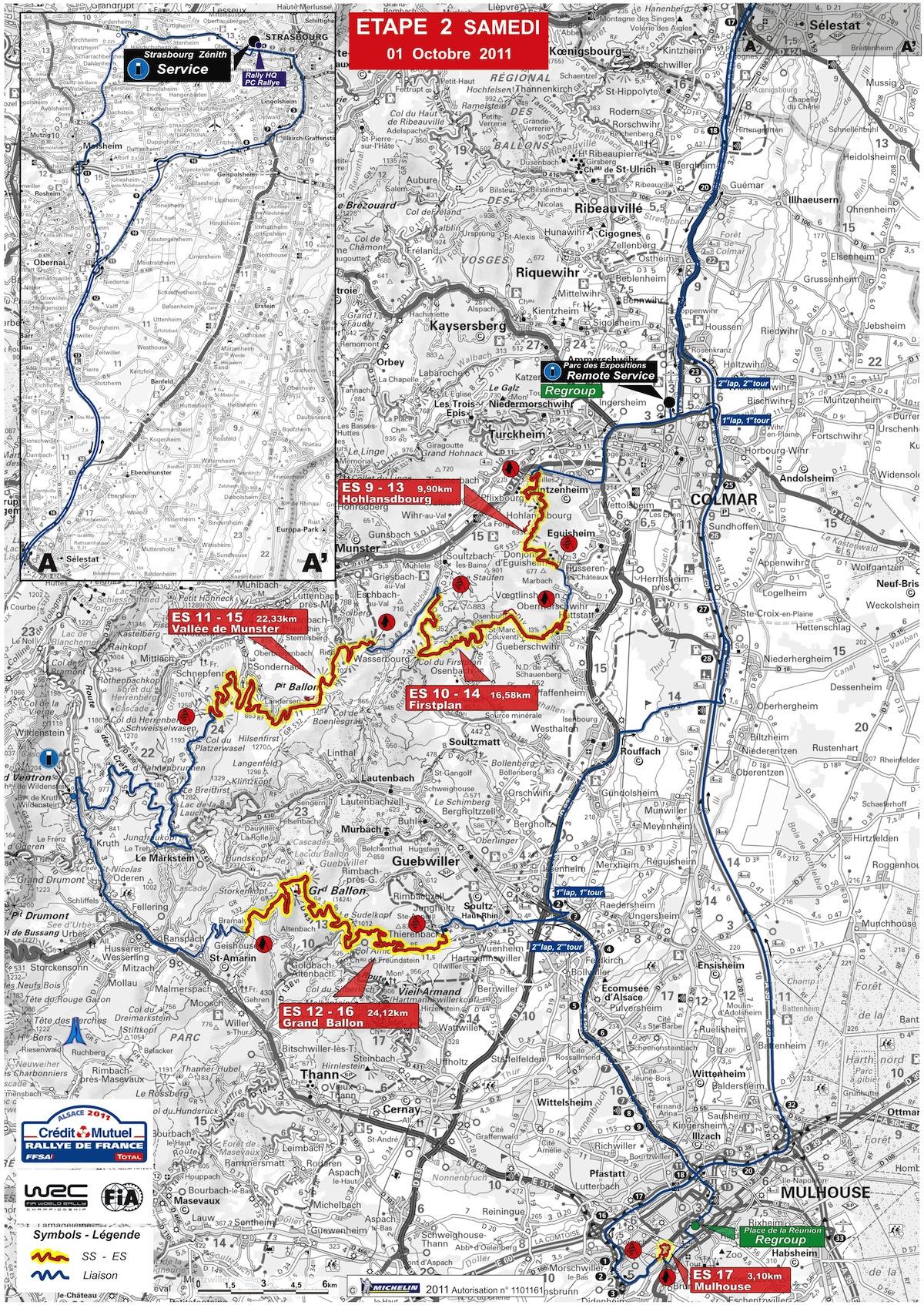 Carte de l'étape 2 du rallye de France 2011
