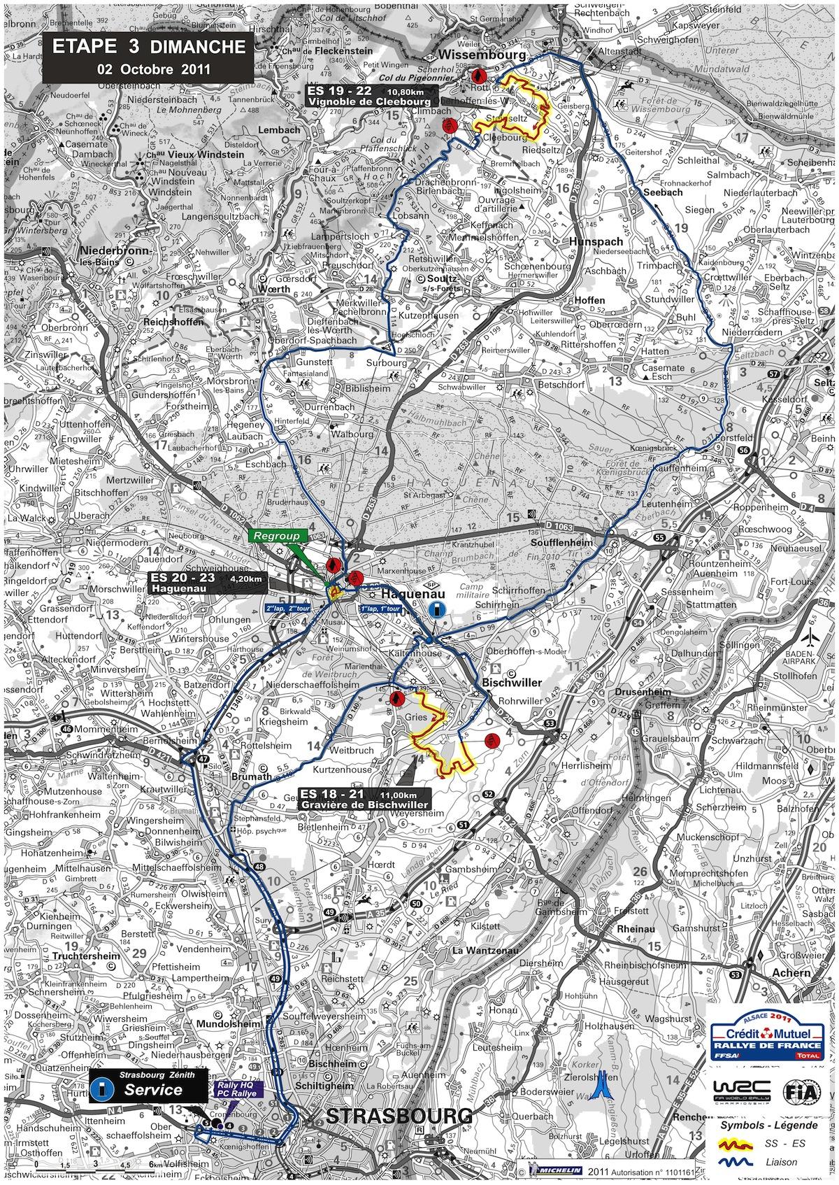 Carte de l'étape 3 du rallye de France 2011