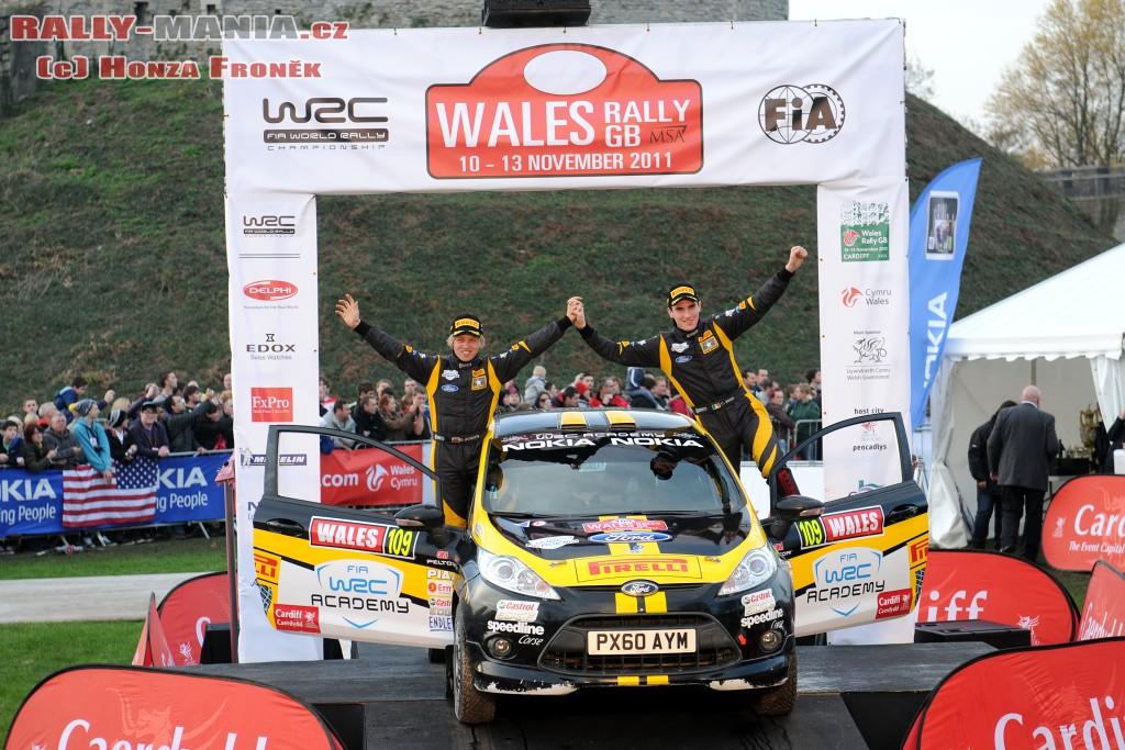 Craig Breen sur le podium du rallye de Grande-Bretagne 2011